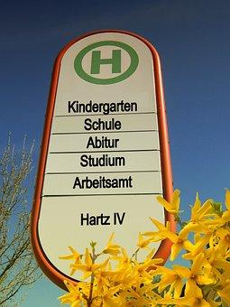 Stop, Bus Stop, Road Sign, Kindergarten, School