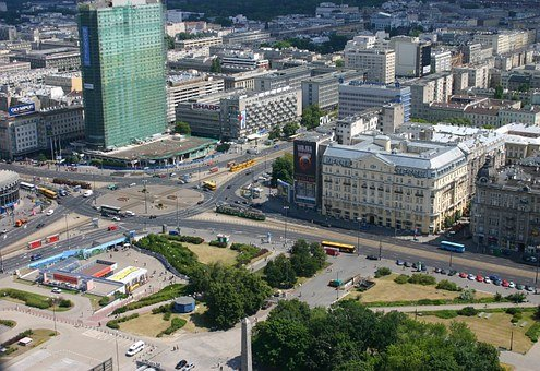 Warsaw, Poland, Aerial, Buildings, The Streets, Rotunda