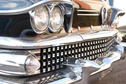 Buick, Car, Chrome, Old, 1958, Headlight, Retro, Sedan