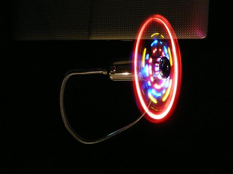 Fan, Rotation, Wing, Subjects, Colorful, Dark, Neon