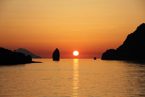 Vulcano, Aeolian Islands, Sunset, Sicily, Sea, Rock