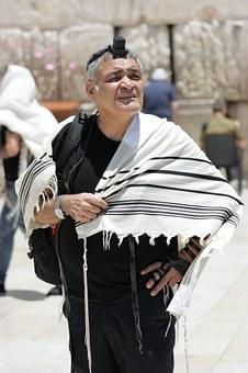 Old, Man, The Tallit, Hebrew, Jew, Wailing Wall