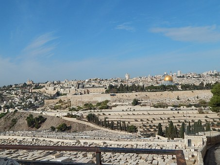 Jerusalem, Temple, View, Mount, Olives, Palm Sunday