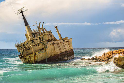 Shipwreck, Sea, Clouds, Boat, Wreck, Ship, Rusty, Aged
