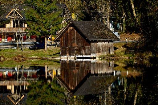 Water, Mirroring, Pond, Hut, Nature, Rest, Bank