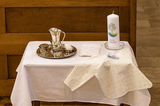 Baptism, Candle, Christening Gown, Church