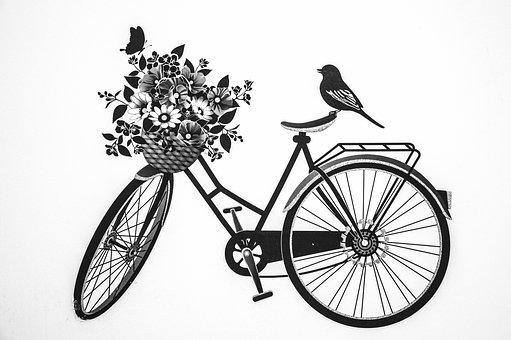 Bycicle, Bird, Deko, Black, White, Model, Young