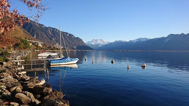 Landscape, Lake, Montreux Dents-du-midi, Boats