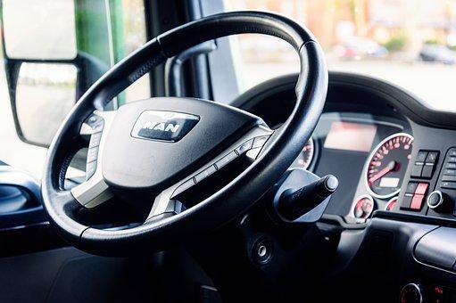 Steering Wheel, Cockpit, Truck, Dashboard, Interior
