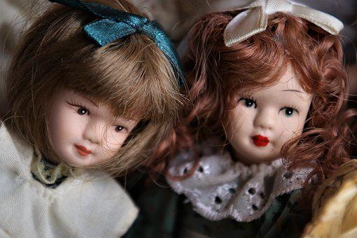 Retro, Porcelain Dolls, Face, Two, She, Hair, Beauty
