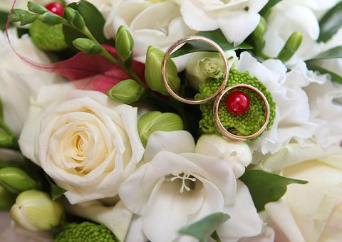 Wedding, Rings, Gold, Bridal Bouquet, Flowers, Roses