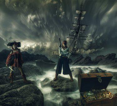 Pirates Of The, Fantasy, Girl, Treatment, Sea, Island