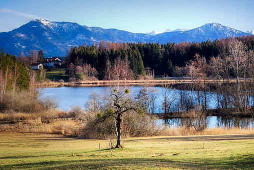 Landscape, Lake, Nature, Water, Blue, Mountain, Meadow
