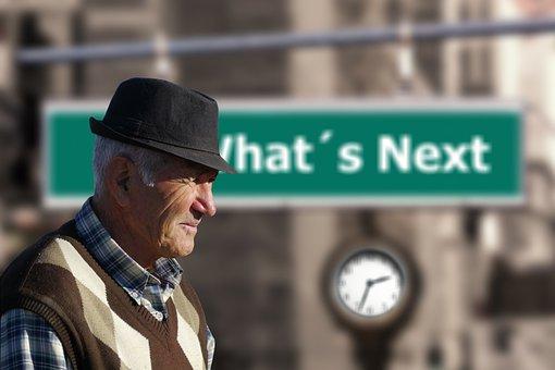 Man, Senior, Old, Arrow, Forward, Outlook, Pension