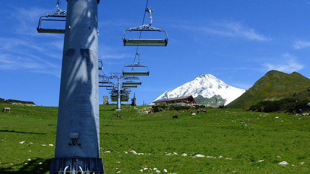 Austria, Mountains, Chairlift, Snow Peak, Nature