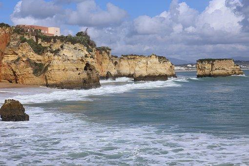 Portugal, Algarve, Beach, Coast, Sea, Water, Wave