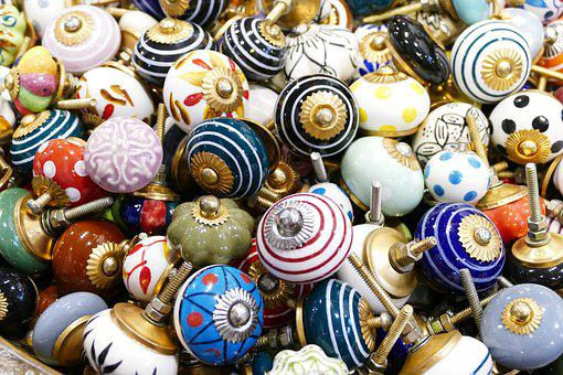 Buttons, Knauf, Handle, Screw, Colorful, Vintage, Retro