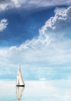 Sailing Boat, Clouds, Sea, Sky, Water, Ship