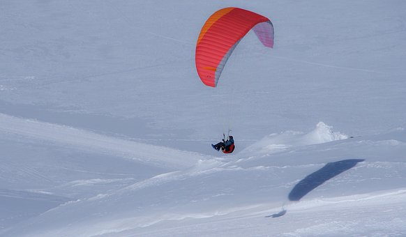 Paragliding, Snow, Mountain, Glacier, Flight
