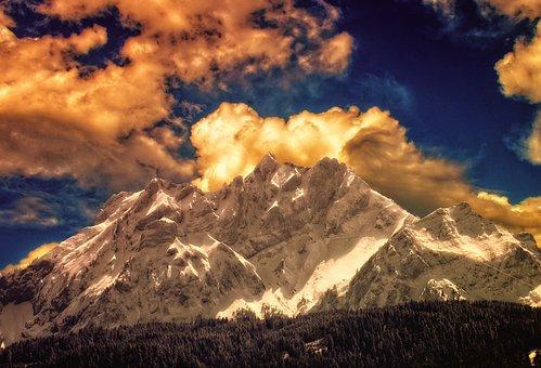 Clouds, Mountain, Snow, Dramatic, Landscape, Sky, Sun