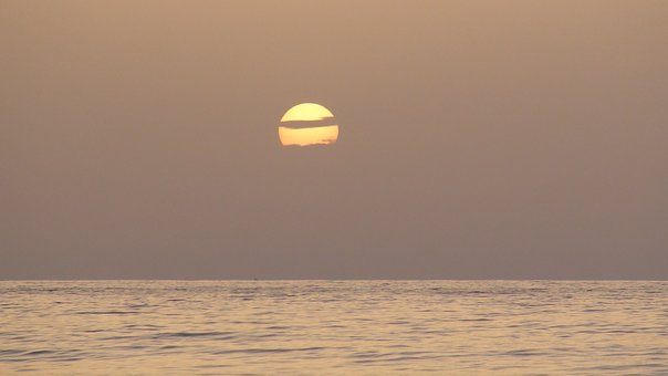 Sunset, Sea, Sub, Ocean, Sky, Clouds, Horizon, Twilight