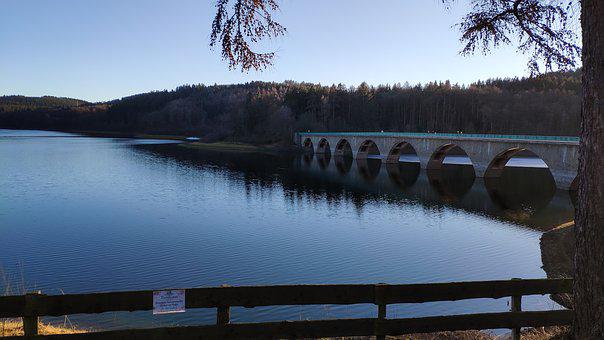 Versetalsperre Lake, Lake, Bridge, Sun Through Tree