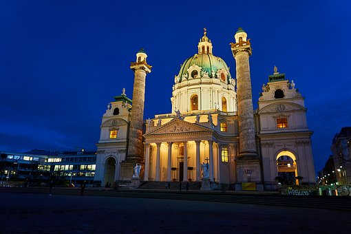 Vienna, St Charles's Church, Austria, Facade, Capital