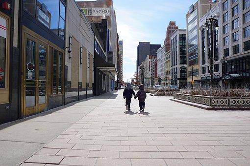 Kids, Brothers, Boys, Holding Hands, Walking, Detroit