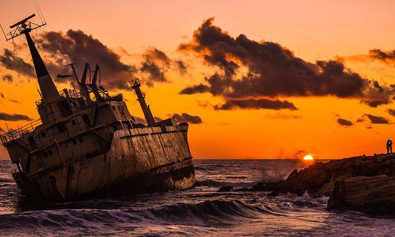 Shipwreck, Sea, Clouds, Sunset, Romantic, Boat, Wreck