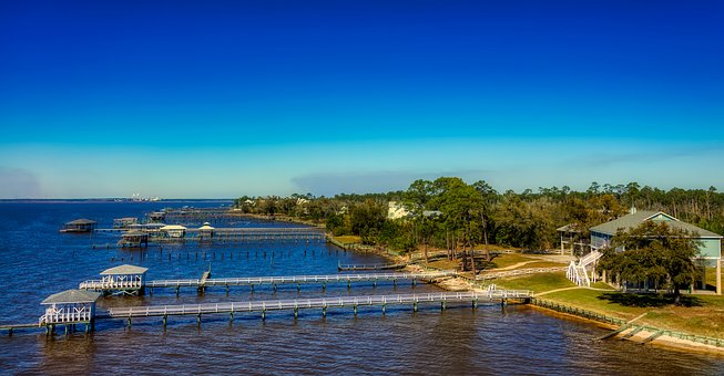Mississippi, America, Panorama, Gulf, Sea, Ocean, Hdr