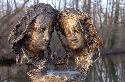 Monument, Blutenburg, Agnes Bernauer, Masks, Bronze