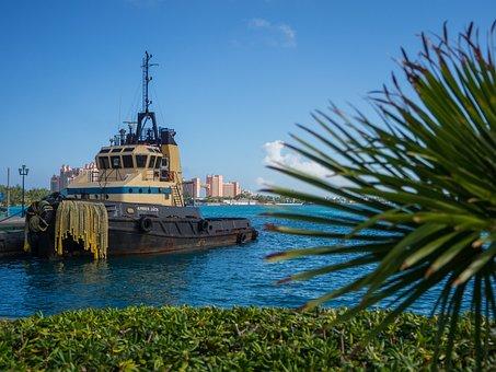 Tug Boat, Bahamas, Water, Boat, Sea, Ocean, Sky, Blue