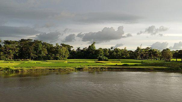 River, Nature, Sky, Cloud, Water, Village, Cloudy