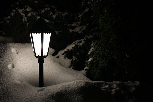 Lantern, Winter, Darkness, Snow, Snowfall, Light, Dark