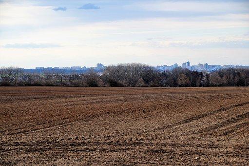 Field, Spring, Plowed, Horizon, City, Housing Estate