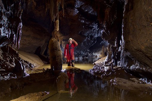 Potholing, Cave, Gulf, River, Underground, Clay
