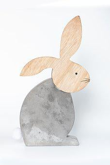 Hare, Deco, Concrete, Wood, Decorative Rabbit, Easter