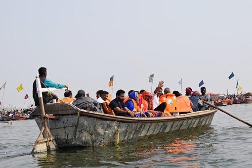 Boat, Ganges, River, India, Ghat, Water, Ganga, Hindu