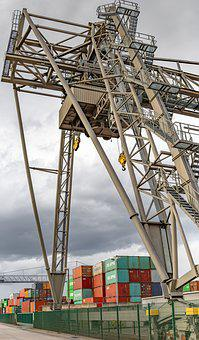Container Port, Crane, Industry, Trade, Harbour Cranes