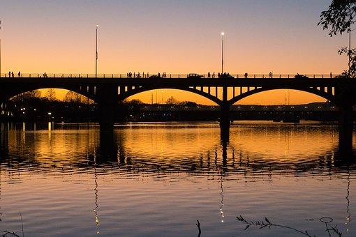 Austin, Texas, Bridge, Bats, Sunset, River, Lake