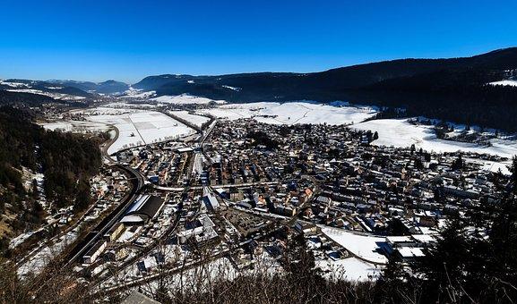 Winter, Village, Snow, Cold, Houses, Valley, Landscape