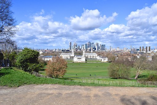 Greenwich, London, Park, City, Green, Clouds, Spring