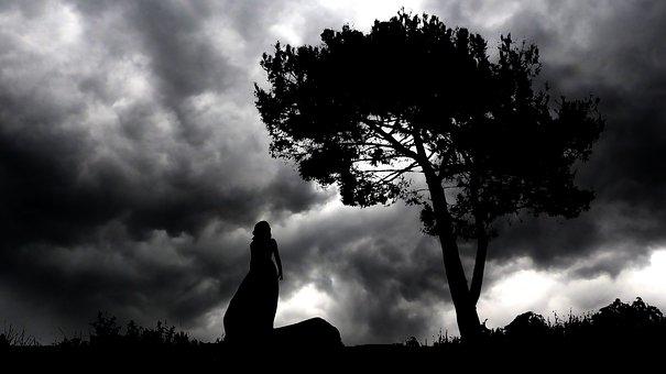 Night, Landscape, Woman, Silhouette, Nature, Sky, Dark