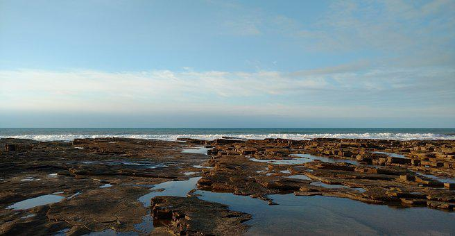 Sea, Blue, Rocks, Cloud, Horizon, Landscape, Sky, Ocean