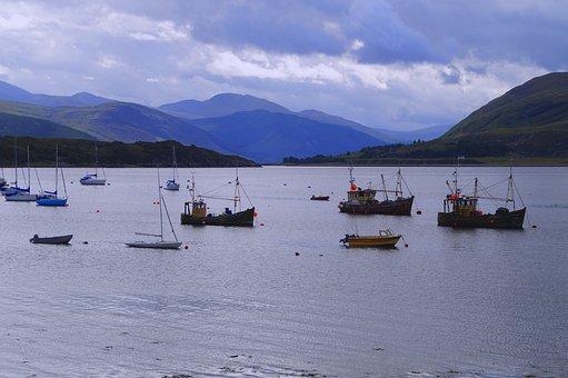 Isle Of Skye, Scotland, Sea, Ocean, Boats