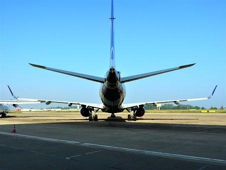 Embraer, Emb 195, E-jet, Aircraft, Sky, Jet, Silhouette