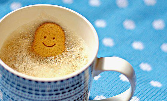 Coffee, Mug, Gingerbread Man, Woman, Smile, Happy