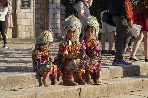 Vietnam, Mountain Peoples, Costumes, Children
