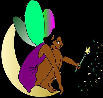 Elf, Fairy, Sprite, Brown, Purple, Moon, Wand, Wings