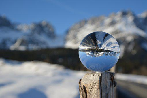 Glass Ball, Winter, Snow, Mirroring, Nature, Landscape